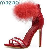 נשים סקסית אדום שחורה פרווה זמש משאבות עקבים טו להרחיב רצועת קרסול סנדלי שמלת נעלי עקבים גבוהים נשים נעלי חתונה MAZIAO