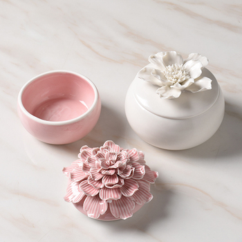 Modern Simple Ceramics Jewelry Storage Box Home Decoration Flower Sculpture Cabinet Desktop Adornment Key Tank Handmade Crafts