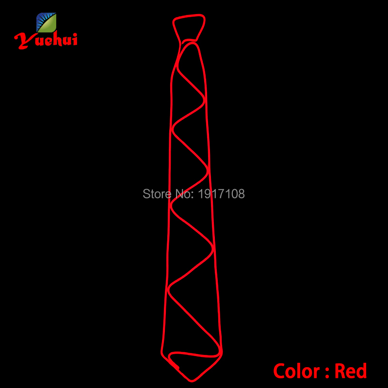 Red Color Fashion Glowing LED Tie EL Wire Tie Light up Cravat for , Prom, Festivals,Party, Luminous Gifts