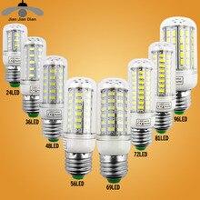 JJD E27 LED Lamp E14 LED Corn Bulb Lampada 24 36 48 56 69 72LEDs Chandelier Candle LED Light SMD5730 220V For Home Decoration