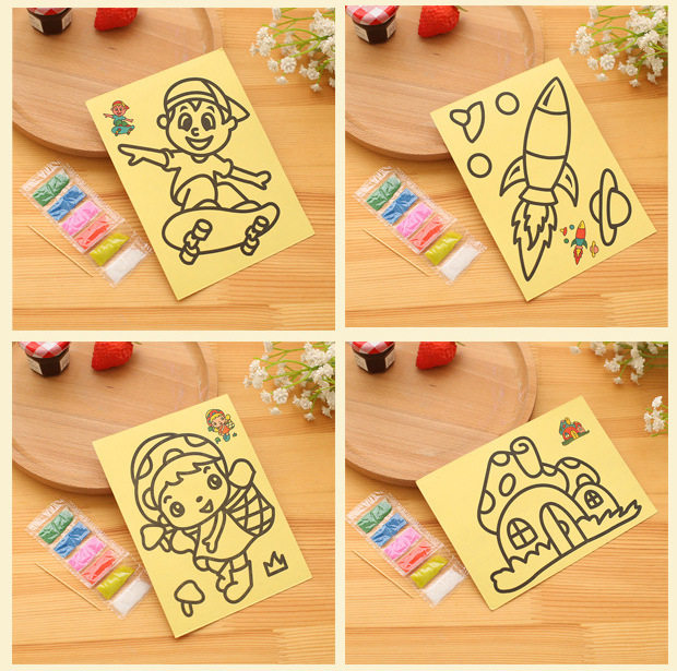 Online Shop 5pcs Lot Colored Sand Painting Drawing Toys Art Kids Coloring DIY Crafts Learning Education Color Cards