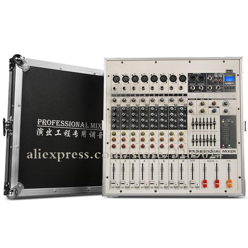 Flight Case Super Power Bluetooth USB SD Card Amplifier Mixer One Machine Digital Effect Processing Mixer