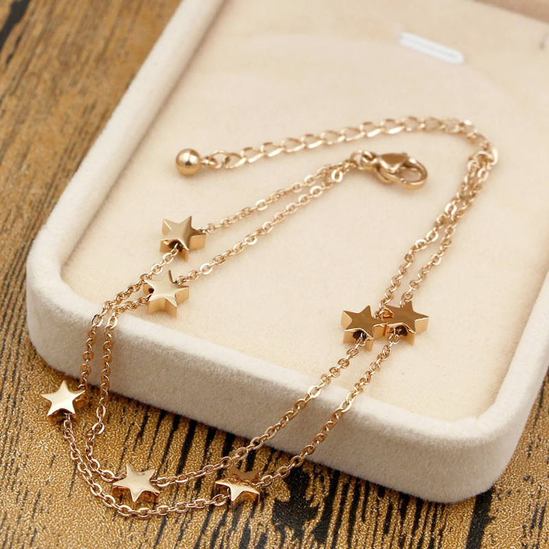 Highly Polished Beautiful Double-Layered Chain And Star Anklet Top Quality Titanium Steel Jewelry Woman Child Best Gift