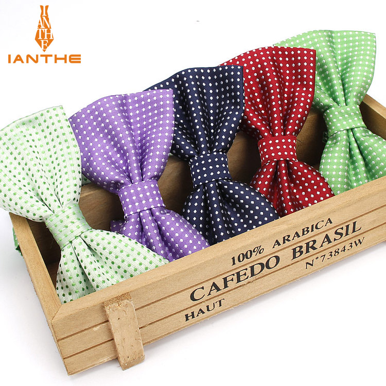 Ianthe Men Fashion Formal Polyester Bow Tie Classical Dot Bowties Colorful Butterfly Wedding Party Pet Bowtie Tuxedo Neck Ties