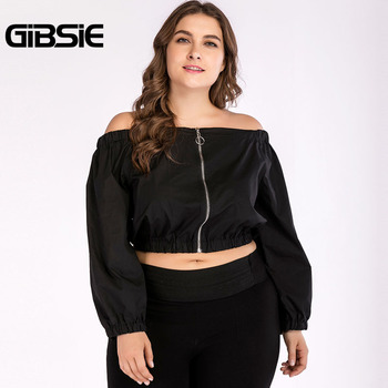 GIBSIE Plus Size Women Clothing Black Off Shoulder Top Tees 4XL Autumn Women Long Sleeve Crop Top 2018 Streetwear Casual T-Shirt