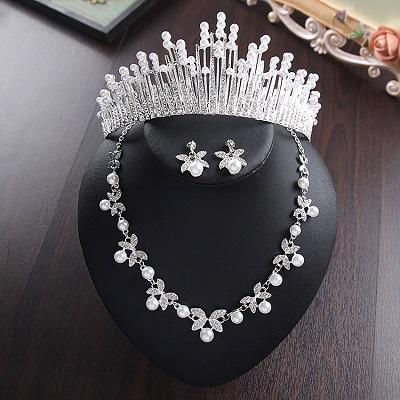 Bride Diaries New Design Crystal Pearl Bride 3pcs Set Necklace Earrings Tiara Bridal Wedding Jewelry Set Accessories (13)