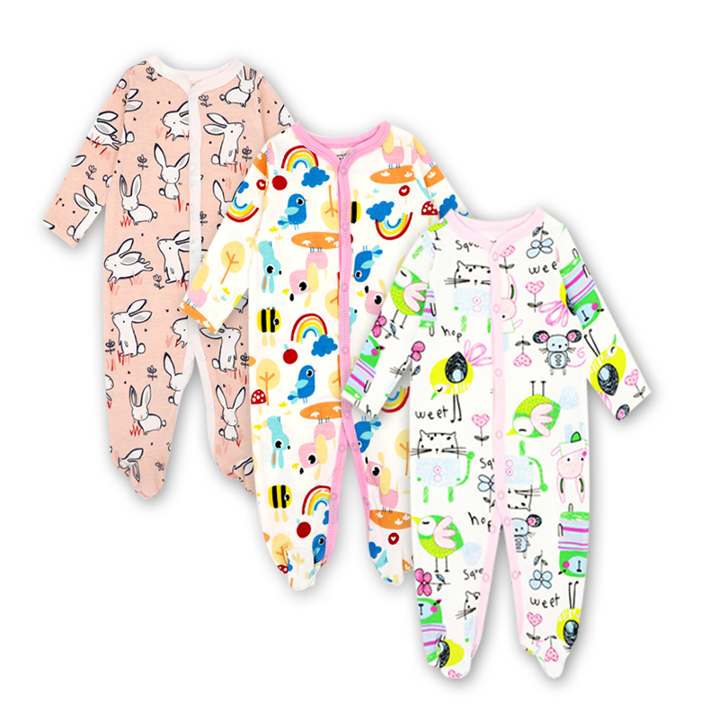 2/3 Pcs/set Cotton baby rompers suit newborn baby girls boys clothes Long Sleeve Jumpsuit Playsuit Outfits newborn baby girls rompers 100% cotton long sleeve angel wings leisure body suit clothing toddler jumpsuit infant boys clothes
