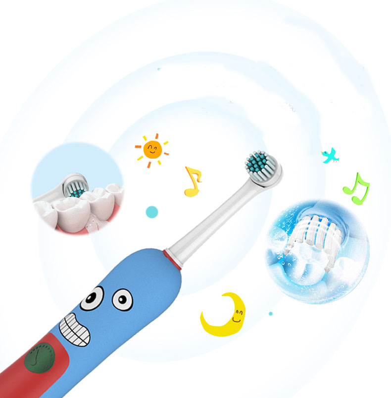 2 minutes with music timer Kid's Children Replaceable rotary Electric Toothbrush Teeth Whitening with Replaceable tooth brush 2pcs philips sonicare replacement e series electric toothbrush head with cap