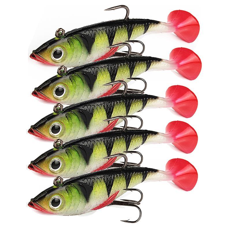 5pcs/lot Fishing Lure Silicone Bonic Soft Bait 11.5g 8.5cm Wobblers Artificial Bait Red Tail Lead Fish artificial frog fishing lure bait yellow green black 5pcs