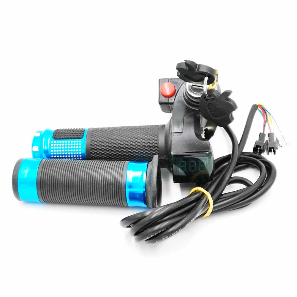 E-bike 36V/48V Twist Throttle Grips LED Battery Level Display and Power Lock with Horn Switch for 22.5mm Electric Bike Handlebar