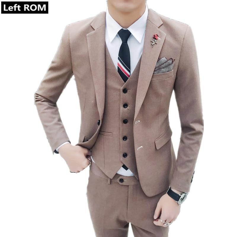 cc3a2eecc39e2 US $63.96 40% OFF|( Jacket + Vest + Pants ) 2019 New Men's Fashion Boutique  Solid Color Formal Business Suit Three piece Suit Groom Wedding Dress-in ...