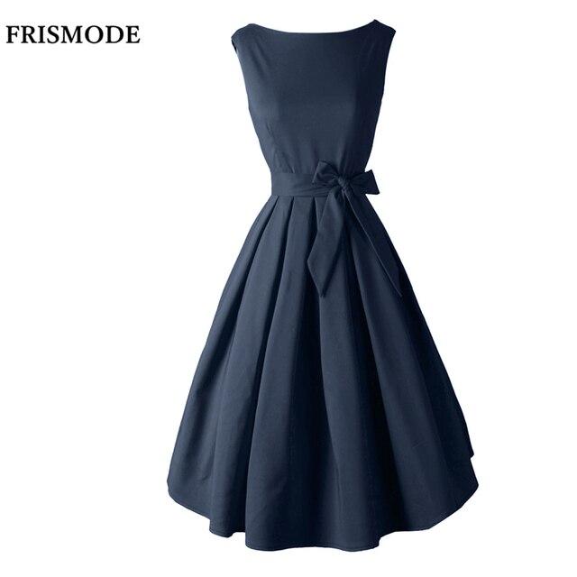 Red Black Audrey Hepburn Style 1950s rockabilly Dress 2018 New Summer Dress  Sleeveless Bow Sash Women Vintage Retro Dresses 7747fdbf1a60