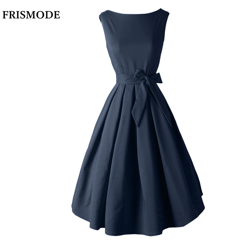 Buy Cheap Red Black Audrey Hepburn Style 1950s rockabilly Dress 2017 New Summer Dress Sleeveless Bow Sash Women Vintage Retro Dresses