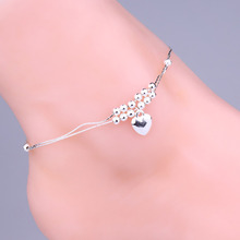Love Peach Heart-shaped Double Layer Beaded Anklets Silver Foot Chain Fine Jewelry For Women Body-0284-SV