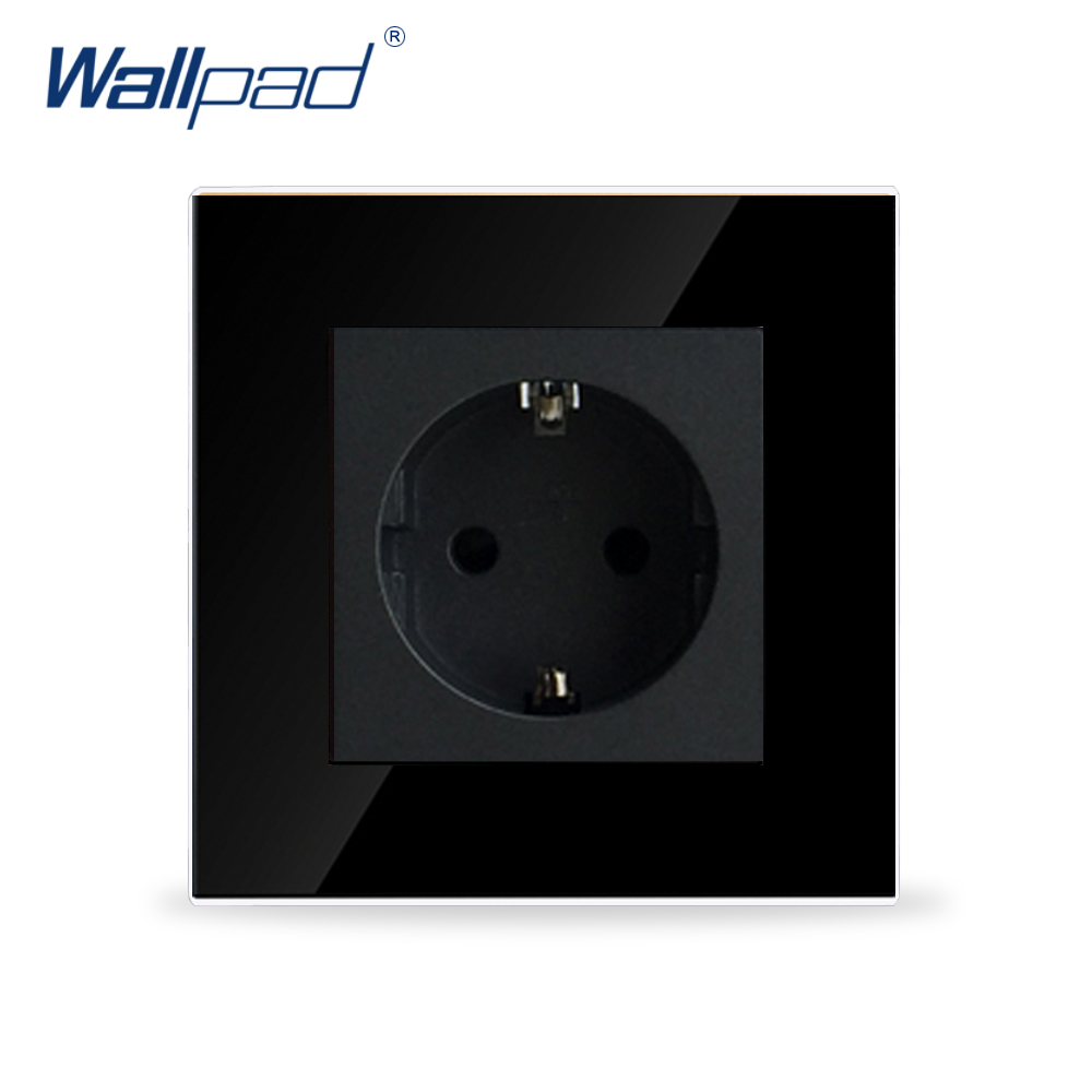 Wallpad Luxury 16A EU Socket Black Crystal Glass Electrical 16A European Wall Socket Outlet Tempered Glass EU Socket atlantic switch tempered glass phone tv socket model luxury crystal glass panel weak current socket telephone television outlet
