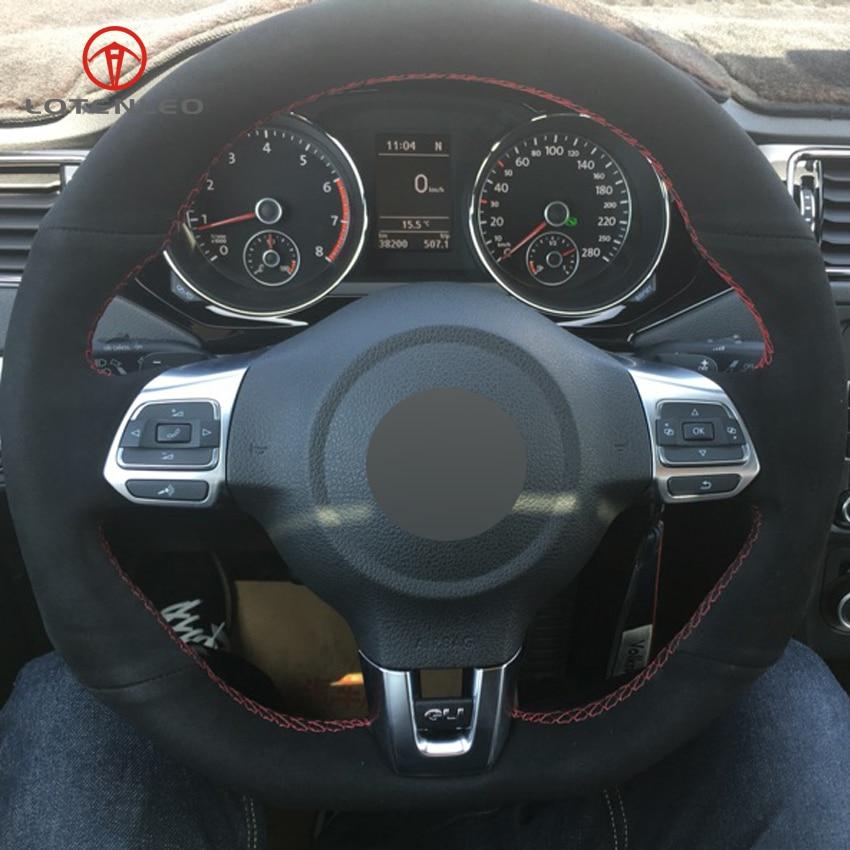 LQTENLEO Black Suede DIY Car Steering Wheel Cover for Volkswagen Golf 6 GTI MK6 VW Polo