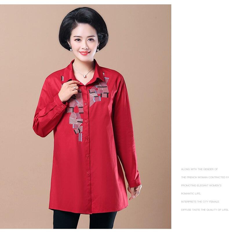 WAEOLSA Woman Casual Loose Shirt Blue Red Cotton Top Women Print Oversized Blouses Plus Size Top Lady Leisure Shirt Spring Autumn (7)