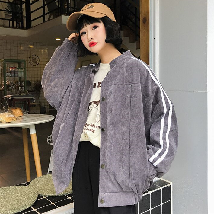 Basic     Jackets   Female   Jacket   Fashion Long Female   Jacket   Corduroy Autumn Korean Students Loose Baseball Coat Plus Size XXL