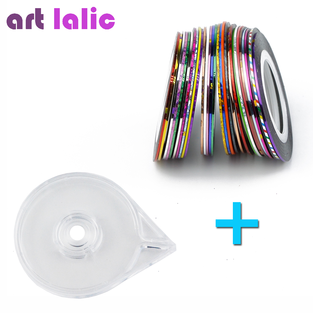 30 Rolls Mixed Colors Nail Art Striping Tape Line Sticker Decal DIY Decoration Kit with 1Pcs Free Tape Case Holder Easy Use Tool 20pcs lot mixed colors nail rolls striping tape line diy nail art decorations sticker for nails nail stickers