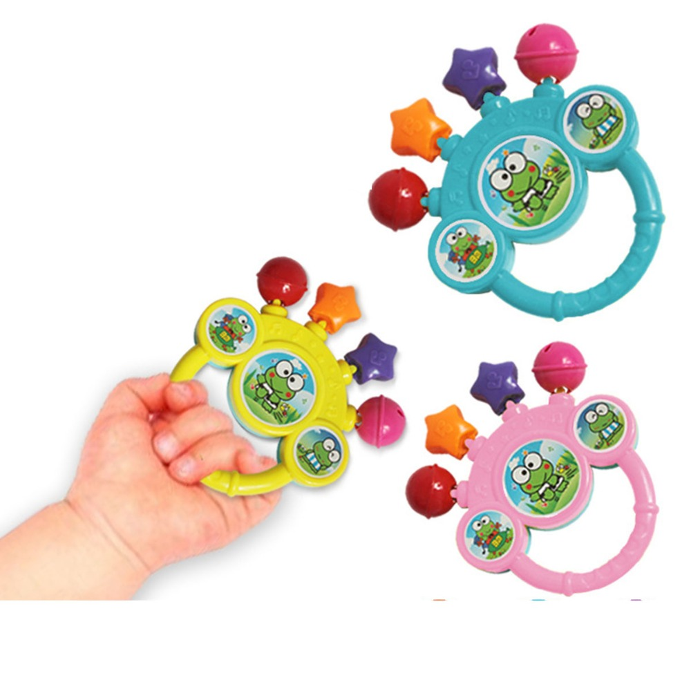 Mambobaby Baby Toys Rattles Bell Hand Rattles Sound Ring Bell Toy Cartoon Animal Infant Educational Fun Musical Instruments