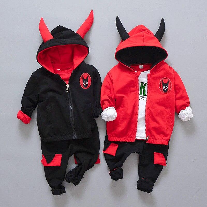 Kids Clothes Set 3 Pcs Set Children Boy Girl Sport Suit Cartoon Horn Monster Pattern High Quality Clothes Set 2 Color 12M-4T 2pcs set baby clothes set boy