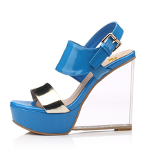 a76f43d02b3f6c Original Intention Sexy Women Sandals Cow Leather Stylish Open Toe Wedges  Sandals Black Blue Shoes Woman