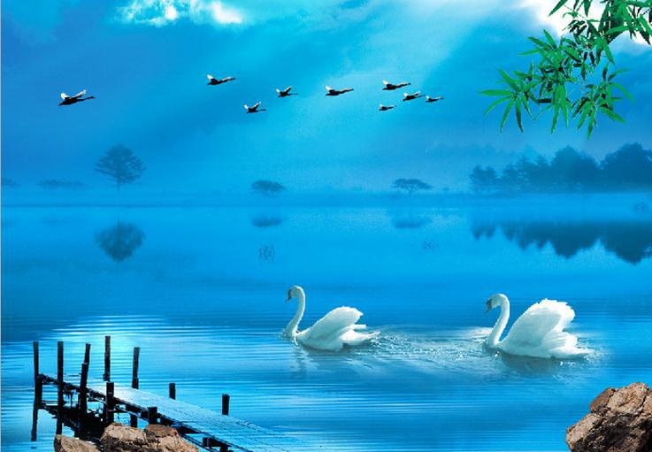 2014 New Hot Selling Factory Direct Wallpapers Backdrop Romantic Sea
