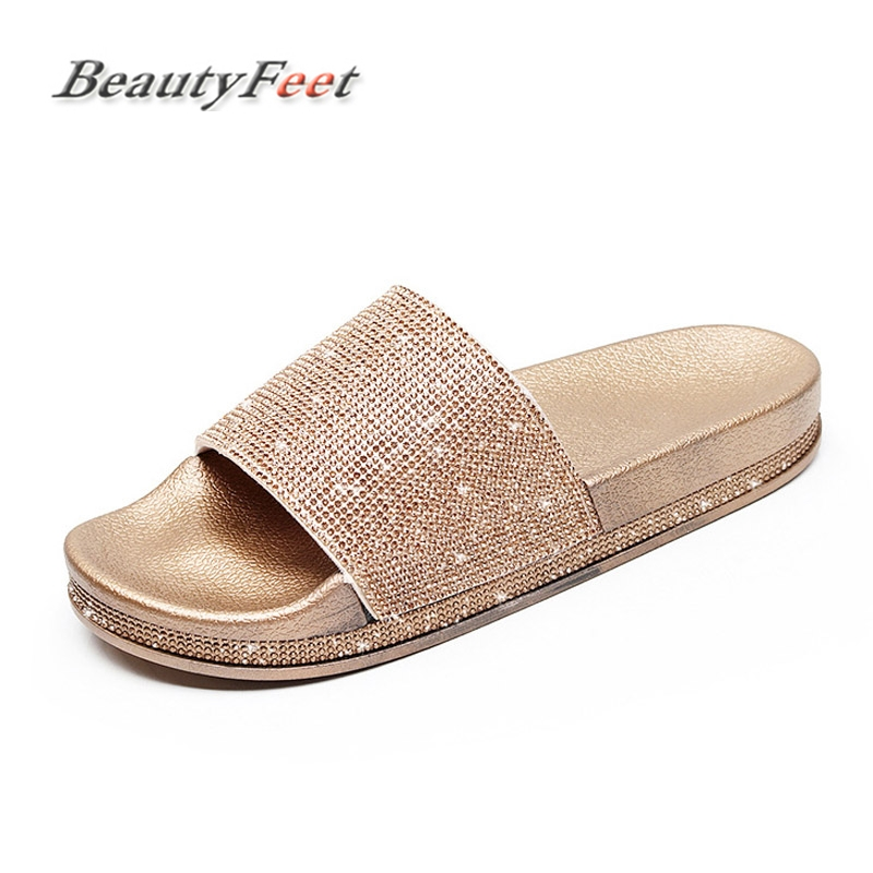Summer Solid Flat Rhinestone Bling Slippers Home Indoor Women Non-slip Crystal Slippers Beach Flip Flops Women's Slides Shoes coolsa women s summer indoor flat solid non slip massage slippers lightweight lady home slippers beach slippers women flip flops