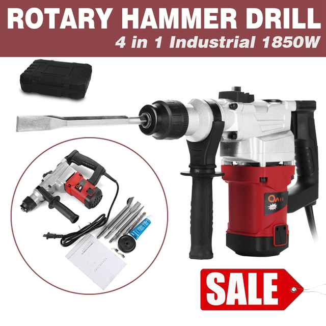 Electric 1850w Hammer Drill Concrete Demolition Jackhammer Tool 4 Chisels