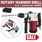 Electric 1850W Hammer Drill Concrete Demolition Jackhammer Tool + 4 Chisels