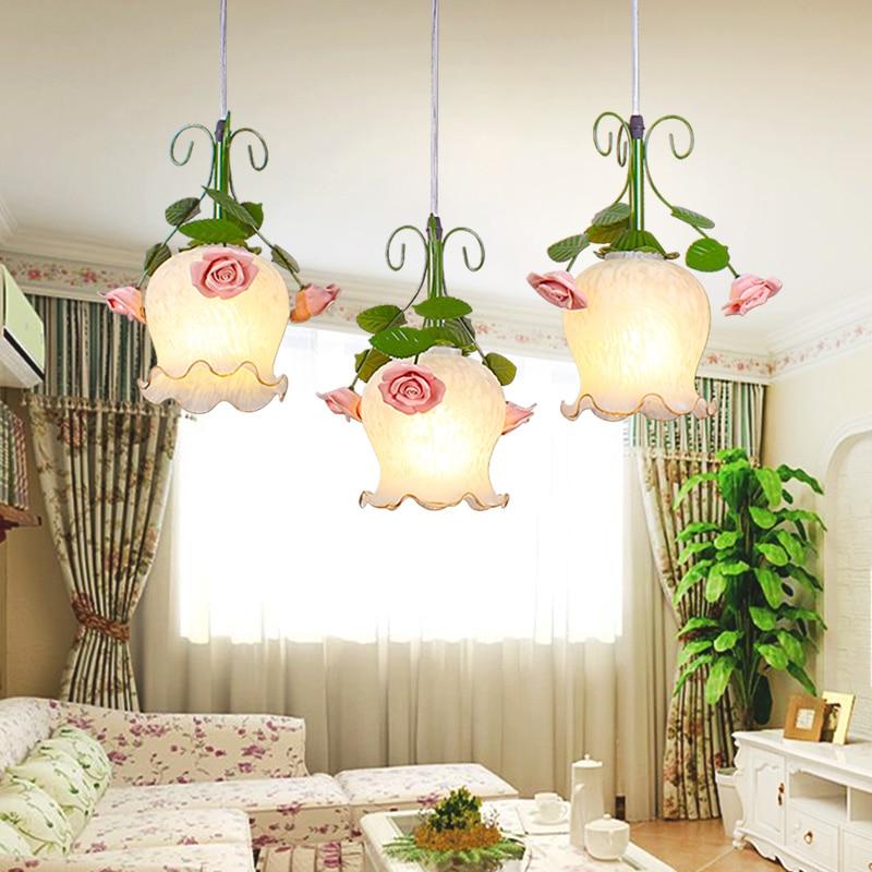 Rural Green glassshare attic lantern pendant lights creative restaurant bedroom garden pendant lamps 1/2/3 heads lamps ZA