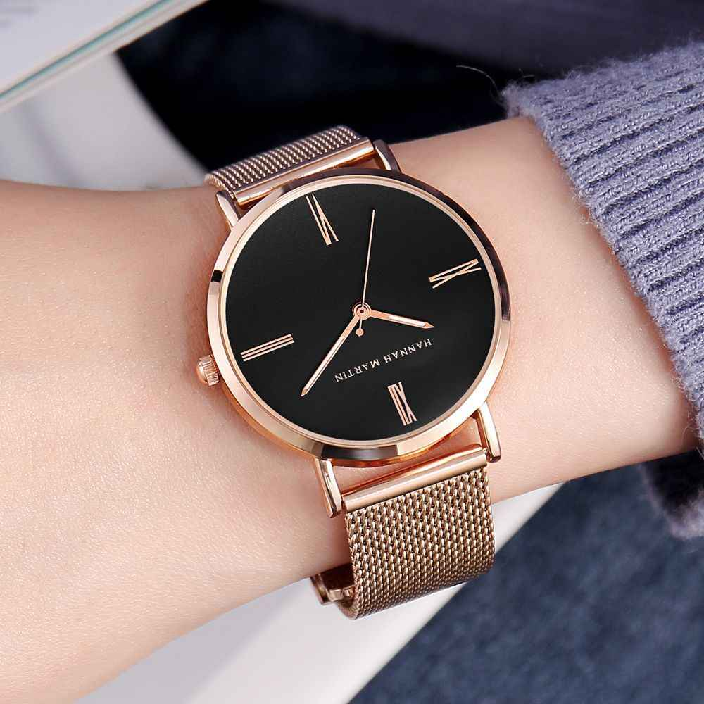 a70414b69 2019 New Hannah Martin Luxury Brand Women Watches Rose Gold Ladies Watch  Magnet Mesh Steel Strap