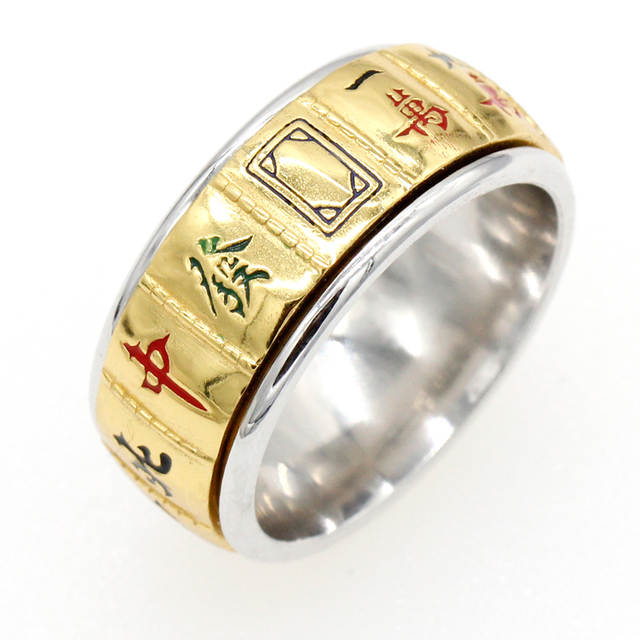 US $20 24 25% OFF|925 Sterling Silver Gold Color Mahjong Ring Traditional  Classic Antique Chinese Style Finger Ring For Men Women Fashion Jewelry-in