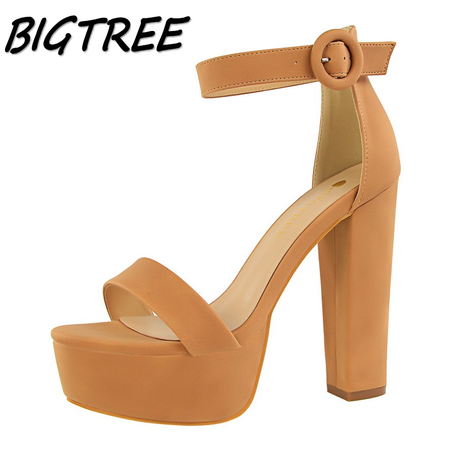BIGTREE new women pumps high heels shoes sandals woman platforms Open toe Thick bottom heels party wedding Square heel stiletto new fashion women casual shoes women sandals 2016 thick high square heels sandals black flock pumps