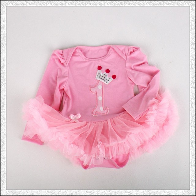 4b51ee138ad5 1PC Pink Tulle Lace Romper Bowtie Baby Girls 1st Birthday Crown Long Sleeve  Tutu Dress for
