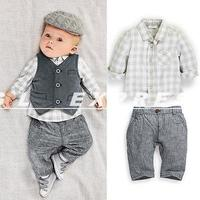 Hot Sale Wholesale Newborn Baby Boys Gray Waistcoat Pants Shirts Clothes Sets Suit 3PCS