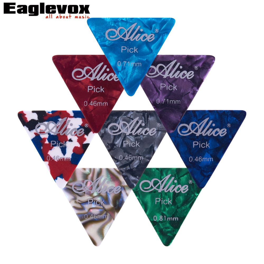 12pcs Big Triangle  Guitar Picks Celluloid 0.46-0.81mm Alice 12L free shipping professional alice ap 12a 12pcs lot pearl celluloid guitar picks plectrums clamshell wholesales