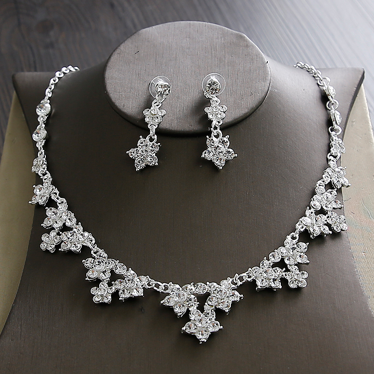 Wedding Sets for Women Bling Bride Hair Accessories Tiaras Earrings Necklace Wedding Jewelry Sets (5)