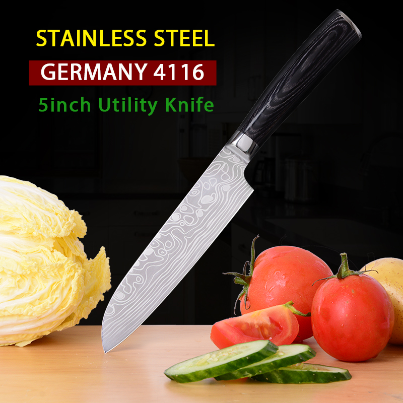 Stainless steel knife 5 inch kitchen knives chef knife Paring Timhome Germany 4116 Santoku knife for fruit and vegetable