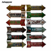 Retro Arrow Shaped Metal Tin Signs Exit Open Signboard Hanging Welcome Sign Garage Bar Coffee Beer Bar Wall Decor