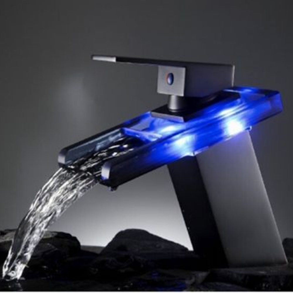 Uythner LED Glass Color Changing Waterfall Bathroom Basin Faucet Single Handle Hole Tap led waterfall faucet glass water tap crystal bathroom faucet handle
