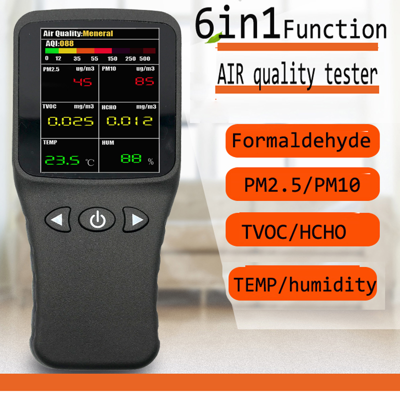 6 in1 Air quality detector Formaldehyde detector pm2.5 tester HCHO PM2.5 PM10 Gas Analyzer tool with Rechargeable battery free shipping jsm131s indoor air quality monitor handheld ch2o hcho tester