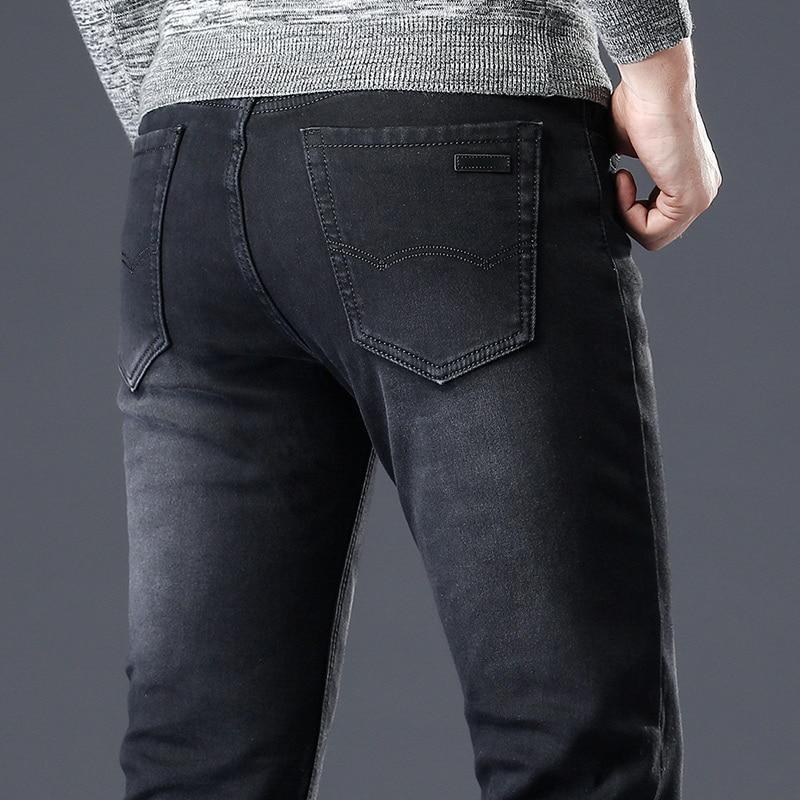 Black   Jeans   Men'S Winter   Jean   Homme Warm Masculina High Quality Pants Pantalon Hombre Vaquero Man Slim Fit Stretch Spijkerbroek