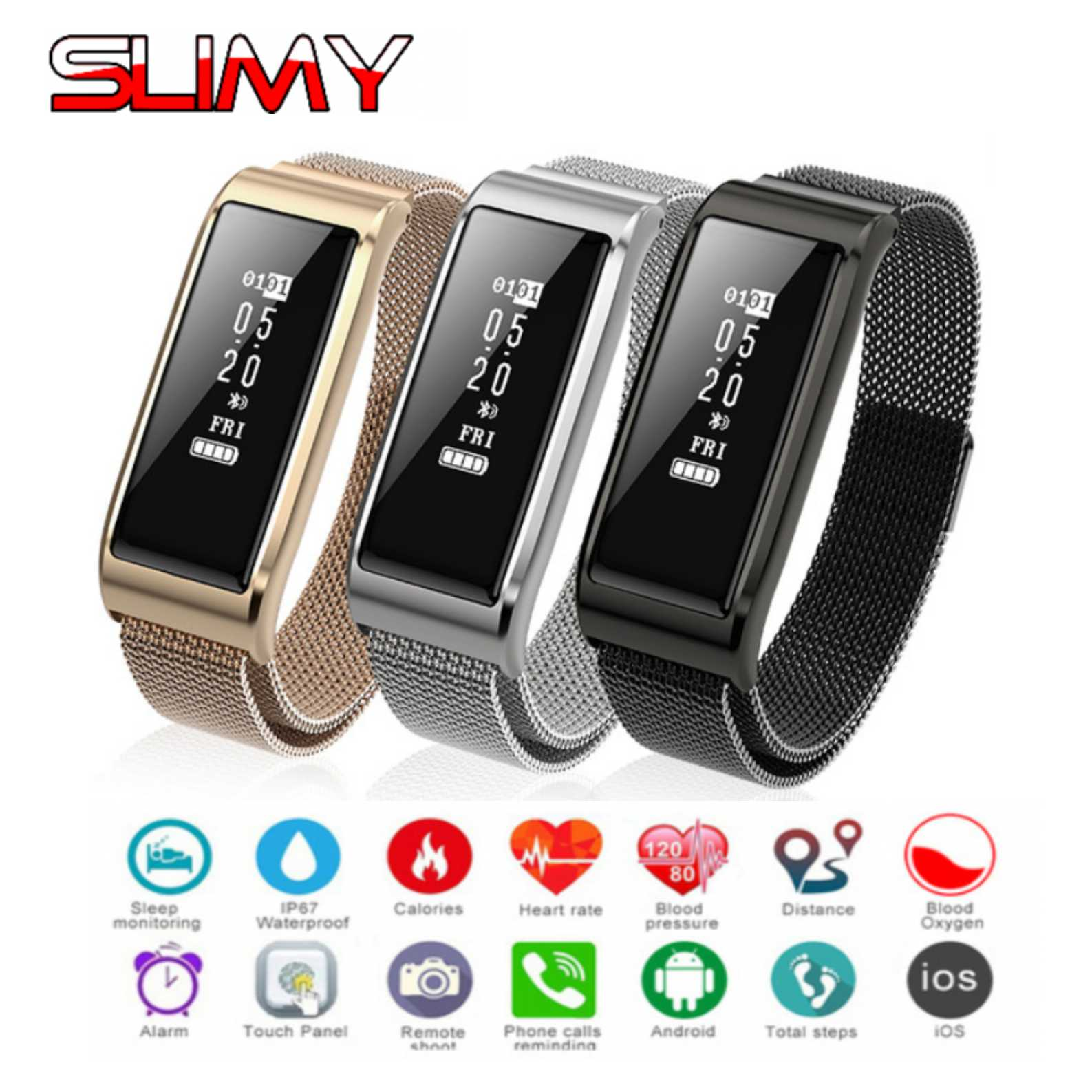 Slimy Sports Smart Band IP67 Waterproof Swimming Smart Wristband Pedometer Heart Rate Monitor Smart Bracelet PK S2 X3 Miband 3