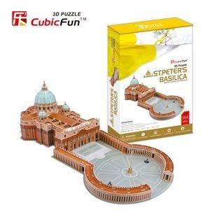 Cubicfun modelo de papel do enigma 3d presente das crianças diy brinquedos do edifício st. peter vaticano papal a basílica de são pedro basílica de são pedro mc092h