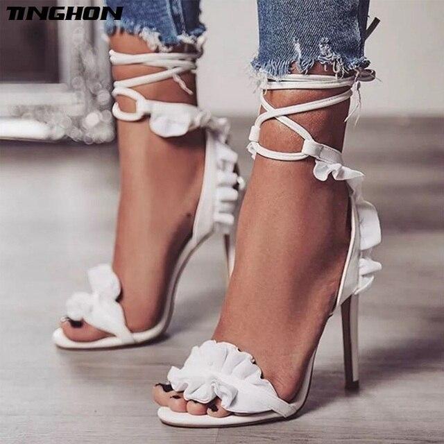 2adb197ea0c TINGHON Cross Bandage High Heels bohemian sandals Women Pumps Thin Heel  Ruffle Lace-Up Summer Shoes white Fashion Party shoes