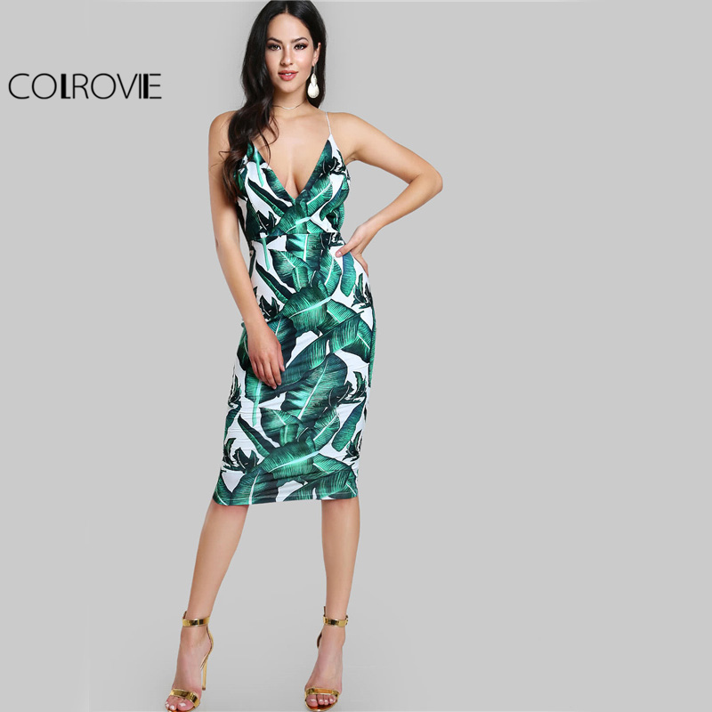 6c1c691c9e7 COLROVIE Backless Fitted Slip Dress Green Tropical Print Sexy Women Summer  Dresses 2017 Plunge Neckline Bodycon ...