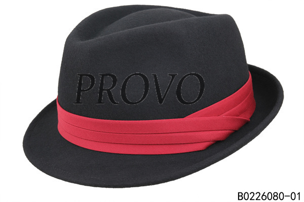 Men wool felt black fedora hat with red band-in Fedoras from Apparel ... cdf06142bf8
