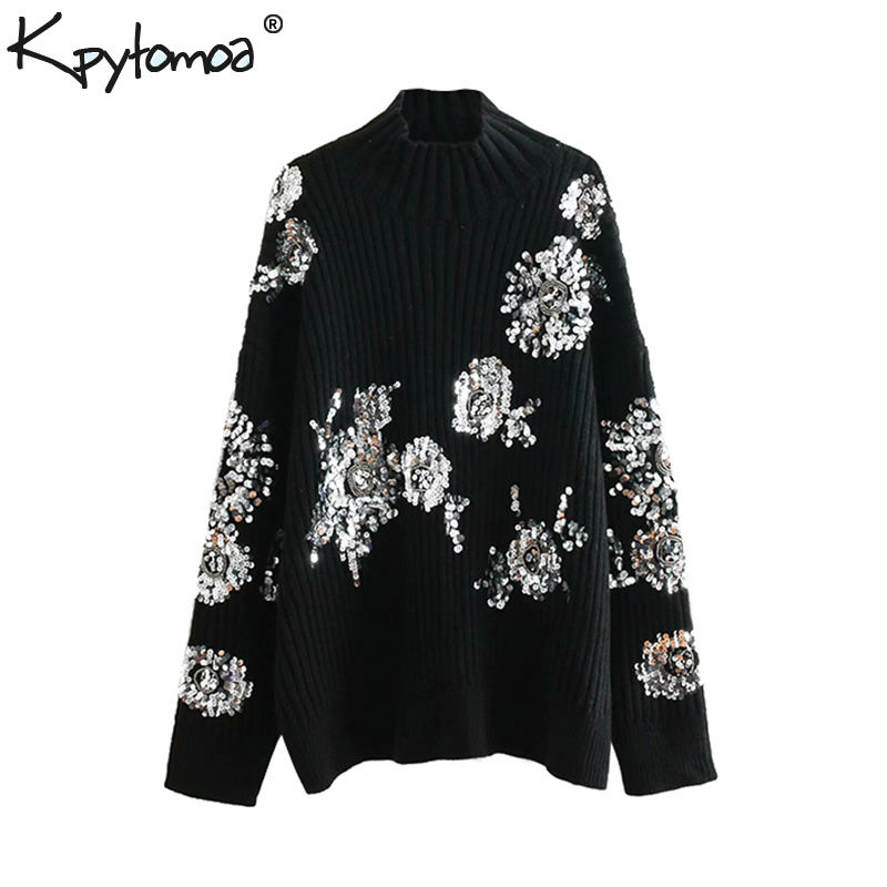 Vintage Beading Sequins Loose Knitted Sweaters Women 2020 Fashion Turtleneck Long Sleeve Ladies Pullovers Casual Jersey Mujer