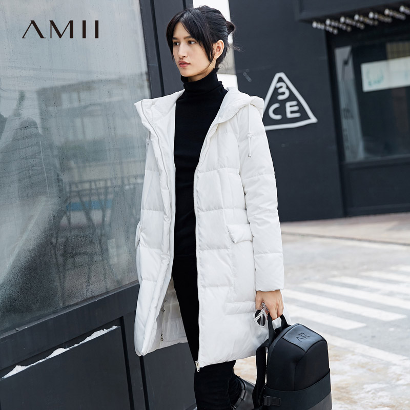 Amii Minimalist Women 2018 Winter Solid Long Sleeve Loose Hoodies Pocket   Down     Coats